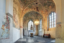 Interior Of Tradesmen's Chapel (Kraemarekapellet) At St. Peter's Church In Malmo, Sweden. The Chapel Was Constructed After 1442 And Contains A Great Wealth Of Frescoes From The Late Middle Ages.