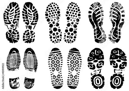 footprints stamped with black ink Fototapet
