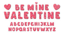 Pink Sweet Valentine Font. Cute Cookies Alphabet. Love Letters ABC In Cartoon Style. Vector Illustration