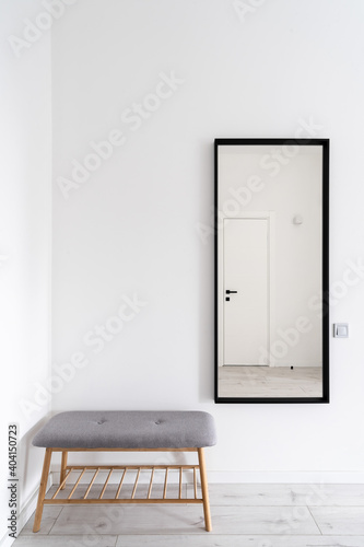 Leinwand Poster White minimalist hallway interior in contemporary house