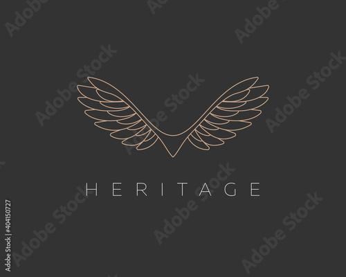 Fototapeta Abstract linear wings bird vector logo. Premium eagle falcon hawk sign symbol logotype. obraz