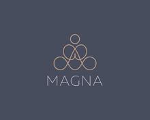 Abstract Yoga Human Linear Logo. Thread Relax Meditation Balance Logotype. Premium Spa Yoga Studio Icon Vector Illustration.
