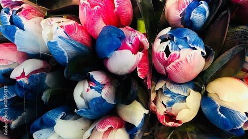 Obraz Full Frame Shot Of Colorful Flowers For Sale At Market Stall - fototapety do salonu