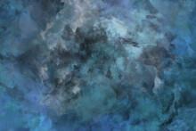 Kunst Wallpaper Wasserfarben Design Dekoration. Textur Einer Wand In Grün, Blau Und Grau