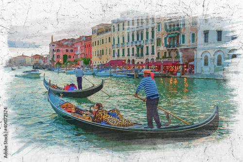 Tablou Canvas Gondoliers sailing with tourists on the Grand Canal, watercolor painting