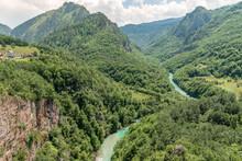 Aerial View Of Tara River And Rocky Canyon Slopes