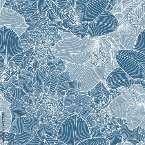 Leinwand Poster Abstract seamless pattern with blue flowers of dahlias and amaryllis