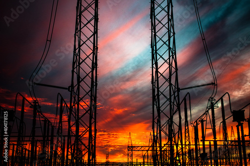 Fototapeta power lines at sunset 4