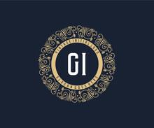 Initial GI Antique Retro Luxury Victorian Calligraphic Emblem Logo With Ornamental Frame.
