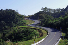 Road Number 3,  Sky Road Or Root 1081 On Mountain  With Green Jungle In Nan Province, Thailand