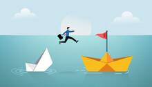 Businessman Jump Over New Paper Ship Concept. Business Symbol Vector Illustration