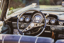 Image Of Retro Vintage Car Interior For Travel Concept.