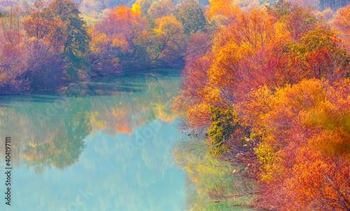 Fototapety, obrazy: Colorful majestic Goksu river in national park with autumn forest - Mersin, Turkey