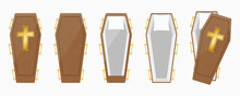 Set Of Wood Coffins Box Illustration Vector