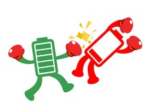 Green Battery Fight With Red Battery Electronic Technology Power Cartoon Doodle Flat Design Style Vector Illustration