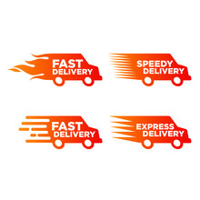 Vector Illustration Of Express Delivery Icon. Suitable For The Design Elements Of Fast Delivery Companies, Fast Order Delivery, And Timely Distribution Of Cargo. Speedy Van Transport Icon Collection.