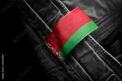 Tag on dark clothing in the form of the flag of the Belarus