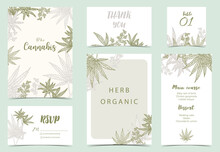 Collection Of Cannabis Background Set With Green.Editable Vector Illustration For Website, Invitation,postcard And Sticker
