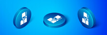Isometric British Guardsman With Bearskin Hat Marching Icon Isolated On Blue Background. Blue Circle Button. Vector.