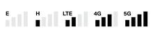 Mobile Signal Level Icon Set. Set With Signal Strength On White Background. Communication Icon Symbol. Communication Icon Set. Symbol, Sign. Status Bar Icon. Wireless Communication.