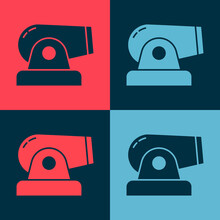 Pop Art Cannon Icon Isolated On Color Background. Vector.