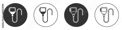 Billede på lærred Black Walkie talkie icon isolated on white background