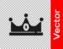 Black King Crown Icon Isolated On Transparent Background. Vector.