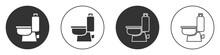 Black Toilet Bowl Icon Isolated On White Background. Circle Button. Vector.