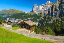 Wooden Houses And High Snowy Mountains, Murren Mountain Resort, Switzerland