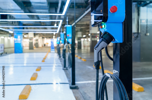 Photo Electric car charging station for charge EV battery