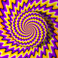Yellow And Purple Growing Sphere. Optical Expansion Illusion.