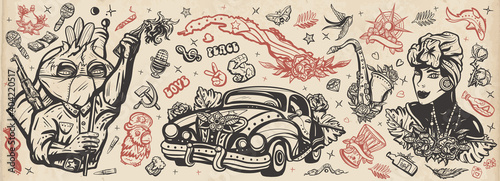 Stampa su Tela Cuba old school tattoo vector collection