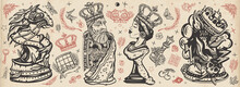 Chess Old School Tattoo Vector Collection. Cartoon Figures. Checkmate Concept. Traditional Tattooing Style. White King And Black Queen. Gambit. Pieces, Board Game. Fiery Knight And Burning Rook