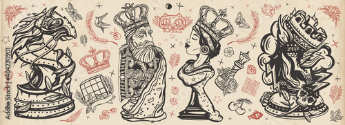 Stampa su Tela Chess old school tattoo vector collection