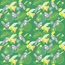 Floral Seamless Pattern With Cute Birds.Modern Abstract Simple Flowers,leaves And Feathers Endless Wallpaper.Vector Botanical Background In Green And Yellow.Trendy Fabric Design,wrapping Paper.