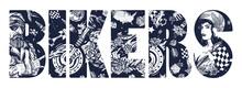 Bikers Slogan. Bearded Biker Man, Burning Motorcycle, Rider Sport Woman. Pin Up Girl, Spark Plug, Moto Bike. Lifestyle Of Racers. Traditional Tattooing Style