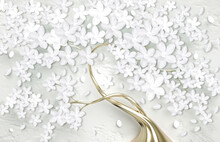 3d Wallpaper For Wall . Mural Tree With Golden Stem . Abstract Floral Background .