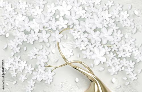 Obraz Fototapeta 3D - złote drzewo z białymi kwiatami - fototapety do salonu