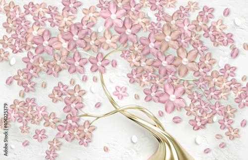 Obraz Fototapeta 3D - złote drzewo z różowymi kwiatami - fototapety do salonu