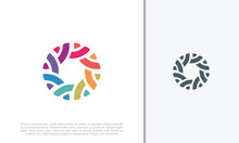 Global Community Logo Icon Elements Template. Community Human Logo Template Vector. Community Health Care. Abstract Community Logo