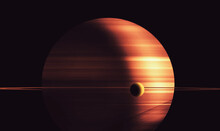 Saturn And Titan Illustration. Abstract Concept About Space Colonization And Astronomy