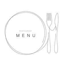 Menu Restaurant Background With Plate And Fork And Knife, Vector Illustration