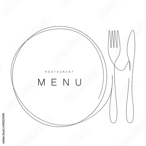 Fotomural Menu restaurant background with plate and fork and knife, vector illustration