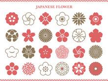 和風の花アイコンセット 桜と梅と菊