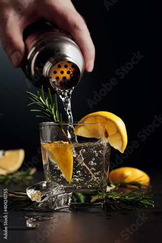 Cocktail Gin and Tonic with lemon and rosemary.