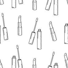 Seamless Pattern Of Lipstick And Lip Gloss On A White Background. Hand Drawing. Vector Illustration In Cartoon Style.