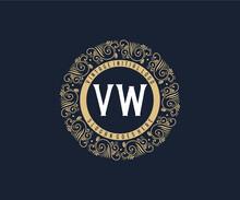 Initial VW Antique Retro Luxury Victorian Calligraphic Emblem Logo With Ornamental Frame.