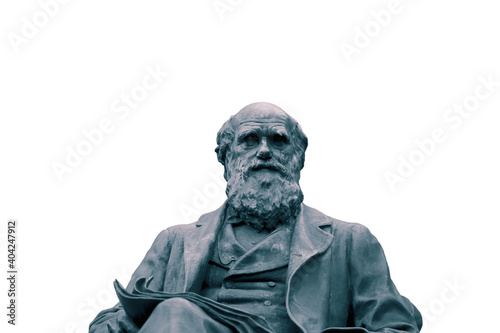 Foto Statue of Charles Darwin isolated on a white background