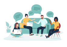 Vector Illustration, Workers Are Sitting At The Negotiating Table, Vector Collective Thinking And Brainstorming, Company