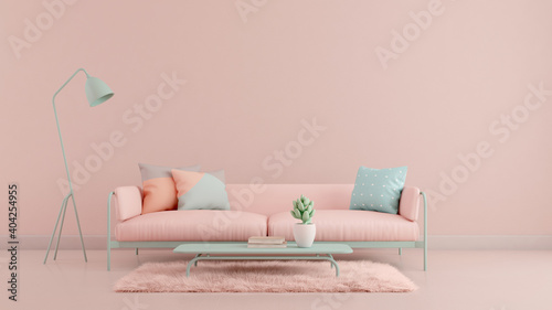Living room.Design with pastel color.Sofa,table,carpet and pink wall.3d rendering